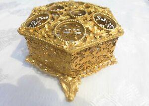 Vintage Gold Ormolu Filigree 9 LIPSTICK HOLDER Matson 1940's to 1960's Vanity