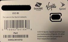 Sprint Nano Sim Card for iPhone 11Pro/Max/11 - Sprint/Boost/Virgin - Simglw416Tq