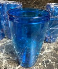 Drinking Glass Tumbler Acrylic 12oz Plastic Set of 4 Blue Outdoor Pool BBQ New