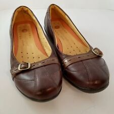 """Clarks UnStructured Womens Shoes 10N Brown Leather SlipOn Loafers 1"""" Heel Buckle"""