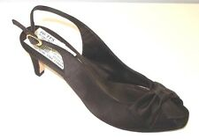 49a9f771dd1f94 Van Eli di notte Open Toe w Bow Brown Satin Slingback Evening Shoes Size 9N