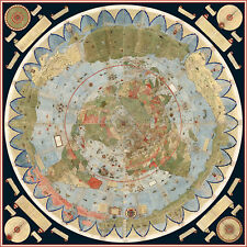 "Flat Earth Map of the World by Urbano Monte 1587 33.1"" x 33.1"" (historic map)"