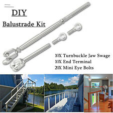 10 SETS Stainless Steel Wire Rope DIY Balustrade Set Jaw/Swage Fork Turnbuckle