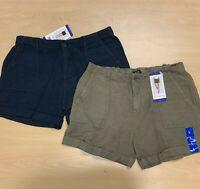 Max & Mia Women's Linen Shorts Green Navy Blue Large Medium Dusty Olive Midnight