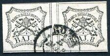 Italia STATO chiese 1852 9 COPPIA timbrato ulteriormente spazio (s3311