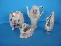 SET OF 4 SMALL HAND PAINTED PORCELAIN VASE AND FIGURINES MADE IN JAPAN