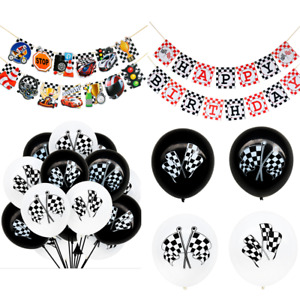Sports Racing Car Party Happy Birthday Banner Bunting Boys Party Decorations