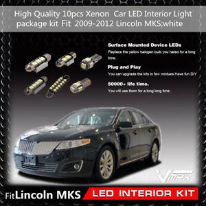 10pcs Xenon White Car LED Interior Light package kit Fit 2009-2012 Lincoln MKS