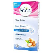 Veet Wax Strips for Sensitive Skin, Pack of 40 - NEW - Easy - Gelwax Technology