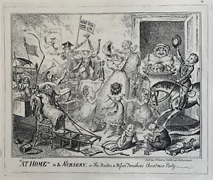 """George Cruikshank etching """"At Home"""" in the Nursery McLean 1835"""