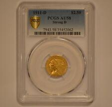1911-D US Indian Head $2.50 Quarter Eagle Gold Coin Scarce Strong D PCGS AU58