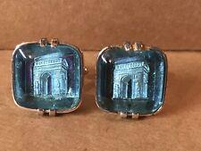 Vintage SWANK Large Blue (Aqua) Glass Transparent Stone Building Sub Texture