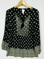 Chico's Women's 1 (Medium) Long Sleeve Sequin Accented Tassel Tie Boho Knit Top