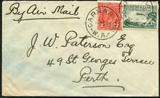 June 1934 usage of 3d Airmail + 2d KGV commercial airmail cover  CARNARVON-Perth
