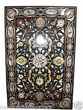 6'x3' Black Marble Custom Glass Table Tops Marquetry Mosaic Inlay Home Art H2067