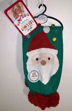 Christmas Santa LED Light Knit Scarf Lighted Battery Green Ugly Sweater Party