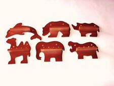 6 x 4pc Mini Wild Animal Thimble Display Racks (Mahogany)(huge range - see list)