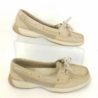 Sperry Top Sider Tan Boat Shoes Womens Size 7 Classic Leather Slip On Comfort