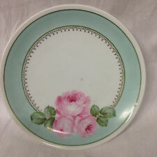 """REINHOLD SCHLEGELMIL RS GERMANY 6.5"""" BREAD PLATE 3 PINK ROSES BLUE/GREEN BAND"""