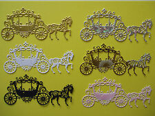 "6 Tattered Lace Die Cut ""Coach & Horse"" Embellisments Assorted Colours as Shown"