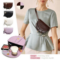 Women Waist Fanny Pack Saddle Bag Alligator PU Leather Flap Chest Shoulder Pouch