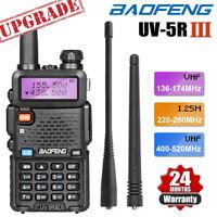 BAOFENG UV-5R III Tri-Band Walkie Talkie Long Range Two Way Ham Radio + Earpiece