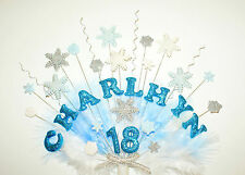 frozen, snowflake and feathers birthday cake topper/ decoration personalised
