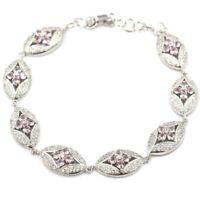 """Fancy Pink Kunzite CZ Woman's Engagement Silver Bracelet 7.5-8.0in """""""