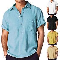 Men V Neck Short Sleeve Basic T-shirt Casual Loose Tops Blouse Polo Shirts Tee