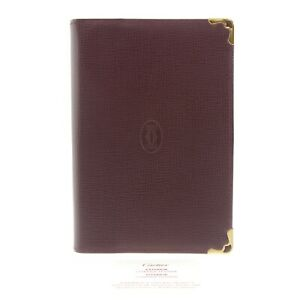 Authentic Cartier Must Line Agenda Day Planner Cover Bordeaux Leather #f135091
