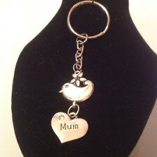 Mum bird key ring silver plated