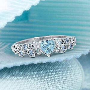 Women Birthday Gem 4 Colors Heart Shape Elegant 925 Silver Alloy Wedding Ring
