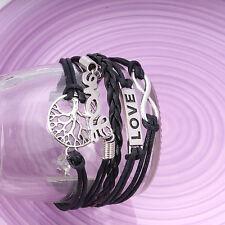 Handmade Infinity Vintage Silver Friendship Pigeon Tree Charms Leather Bracelet