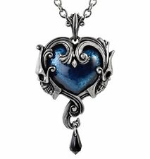Affaire du Coeur Two Skulls Blue Stone Heart Crystal Pendant Alchemy Gothic P792