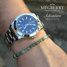 MEGBERRY Mens Beaded Bracelet - Green Moss Agate Gemstone & 925 Sterling Silver
