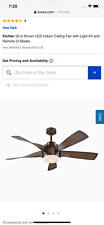 Kichler 52-in Brown LED Indoor Ceiling Fan with Light Kit and Remote (5-Blade)
