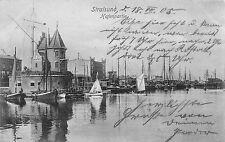 Stralsund Hafenpartie Boote Postkarte 1905