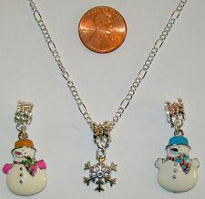 CHRISTMAS PINK SNOWMAN/SNOWFLAKE/BLUE SNOWMAN-3 CHARM -INTERCHANGABLE NECKLACE