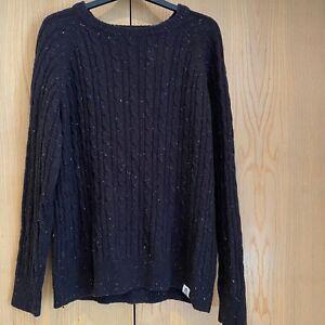 Mens Shore Leave Cable Knit Jumper Size Medium Black Charcoal Coloured Stitch