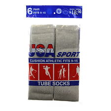 6 Pairs New Men's Cotton Athletic Sports Tube Socks 9-15 Gray Made In USA