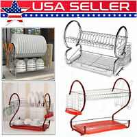 Large Size 2Tier Dish Drainer Drying Rack Kitchen Storage Stainless Steel Holder
