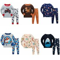 Boys Cartoon tiger sleepwear cotton pajama set 2T-7T home outdoor wear nightwear