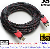 Premium HDMI 1.4 Cable 1080p Cord Adapter HD for Projector HDTV 6 10 15 25 30 FT