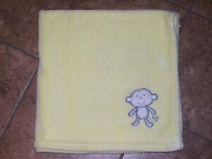Circo Yellow Fleece Baby Blanket Plush with Appliqued Monkey Lovey 30 X 30