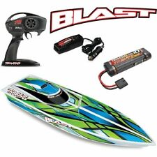 38104-1 Traxxas Blast Electric Rc Boat w/Id Battery & Quick Charger Green