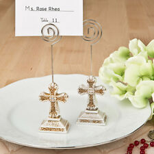100 - Vintage Design Cross Place Card Photo Holder - Baptism Religious Favor