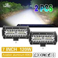 2X 120W 7'' Phare de travail LED 12-24V SUV Offroad Moto Tracteur Light Bar IP68