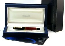 Pelikan M400 Souverän Red Striated Fountain Pen - 14k Gold Med Nib + Case