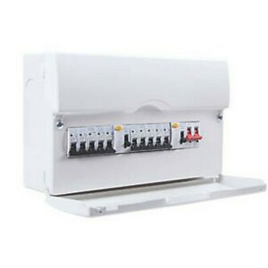 BRITISH GENERAL 16-MODULE 10-WAY POPULATED HIGH INTEGRITY DUAL RCD CONSUMER UNIT