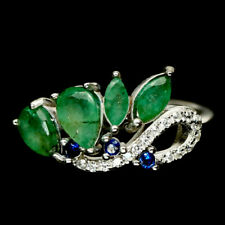 NATURAL GREEN EMERALD & WHITE, BLUE CZ 925 STERLING SILVER RING SZ 7.25